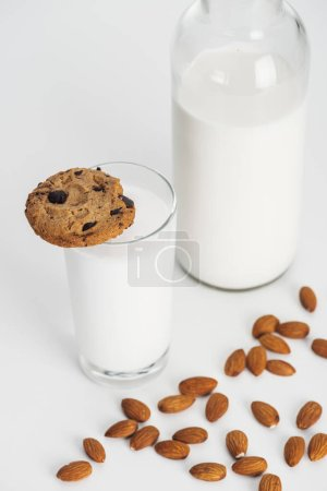 Photo for Organic almond milk in bottle and glass with chocolate cookie and scattered almonds - Royalty Free Image
