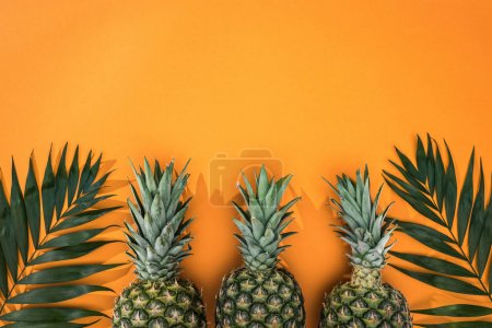 Photo for Top view of pineapples and tropical leaves on orange background with copy space - Royalty Free Image