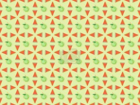 Photo pour Vue du haut du modèle sans couture avec des pommes en carton faites à la main et des tranches de pastèque isolées sur le vert - image libre de droit