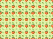 "Постер, картина, фотообои ""top view of seamless pattern with handmade paper strawberries and apples isolated on green"""