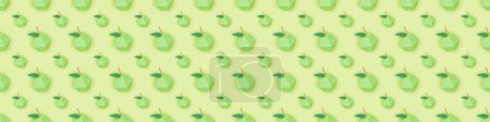 Photo for Panoramic shot of seamless pattern with handmade paper apples isolated on green - Royalty Free Image