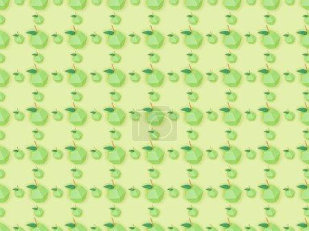 Foto de Top view of textured pattern with handmade paper apples isolated on green - Imagen libre de derechos
