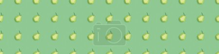 Photo for Panoramic shot of seamless pattern with handmade paper pears isolated on green - Royalty Free Image