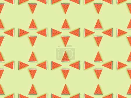 Photo for Top view of seamless pattern with handmade paper watermelon slices isolated on green - Royalty Free Image