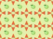 """Постер, картина, фотообои """"верхний вид узора с ручной картонные яблоки и арбуз ломтиками изолированы на зеленый"""""""