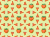 "Постер, картина, фотообои ""top view of pattern with handmade red paper strawberries and watermelon slices isolated on green"""