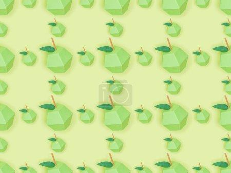 Photo pour Vue du dessus du motif sans couture avec des pommes en papier à la main isolées sur vert - image libre de droit