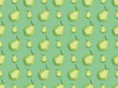 """Постер, картина, фотообои """"top view of pattern with handmade cardboard pears isolated on green"""""""