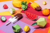 "Постер, картина, фотообои ""origami ice cream and handmade cardboard fruits on multicolored paper"""
