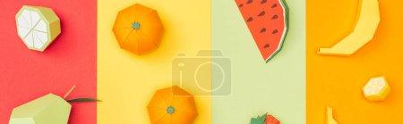 Foto de Panoramic shot of various origami fruits on colorful paper stripes - Imagen libre de derechos