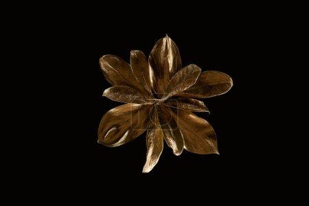 Photo pour Vue supérieure de fleur en métal d'or d'isolement sur le noir - image libre de droit