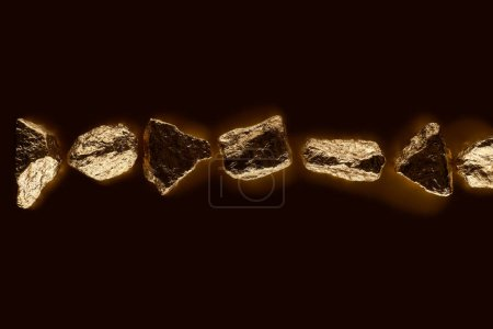Photo pour Top view of gold shiny stones in row isolated on black - image libre de droit
