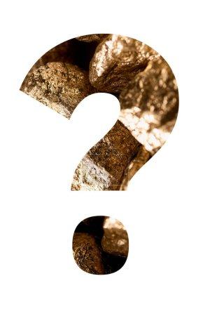 Foto de Question mark made of shiny golden stones isolated on white - Imagen libre de derechos
