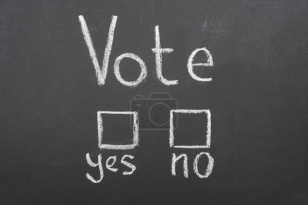 Photo for Top view of white vote, yes and no words on black chalkboard - Royalty Free Image