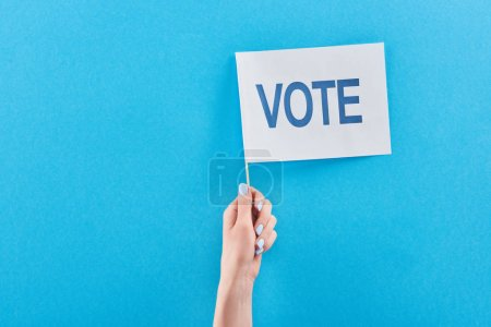 partial view of woman holding white flag with vote lettering on blue background