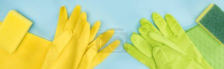 Photo for Panoramic shot of yellow and green rubber gloves, sponges, rags on blue background - Royalty Free Image
