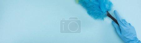Photo pour Plan panoramique de nettoyant dans un gant en caoutchouc tenant le plumeau sur fond bleu - image libre de droit