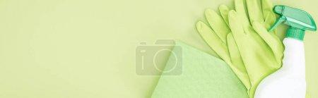 Photo pour Tir panoramique de gants en caoutchouc vert, chiffon et bouteille de pulvérisation sur le fond vert - image libre de droit