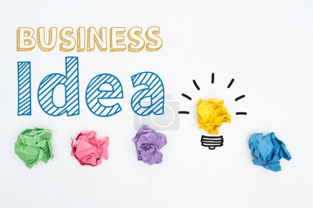 Photo for Top view of business idea inscription near colorful crumpled paper balls on white background, business concept - Royalty Free Image