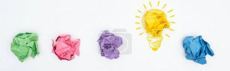 Photo for Panoramic shot of multicolored crumpled paper balls and light bulb illustration on white background, business concept - Royalty Free Image