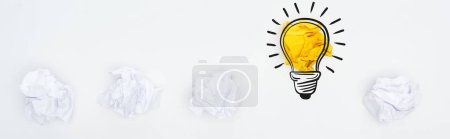 Photo for Panoramic shot of crumpled paper balls and light bulb illustration on white background, business concept - Royalty Free Image