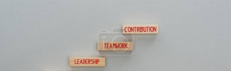 Photo pour Panoramic shot of wooden blocks with leadership, teamwork, contribution words on grey background, business concept - image libre de droit