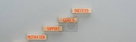 Photo for Panoramic shot of wooden blocks with motivation, support, goals, success words on grey background, business concept - Royalty Free Image