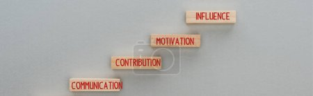 Photo for Panoramic shot of wooden blocks with communication, contribution, motivation, influence words on grey background, business concept - Royalty Free Image
