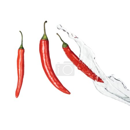 Photo for Bright spicy red chili peppers with clear water splash isolated on white - Royalty Free Image