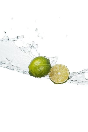 Photo for Fresh limes with clear water splash and drops isolated on white - Royalty Free Image