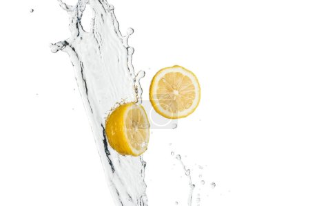 Photo for Yellow fresh lemons with water splash and drops isolated on white - Royalty Free Image