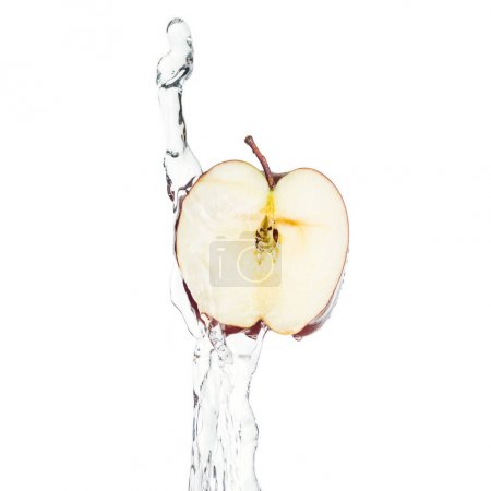 Photo for Ripe apple half and clear water splash isolated on white - Royalty Free Image