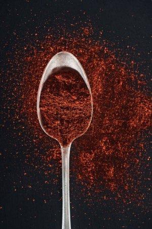 Photo pour Vue supérieure de l'épice de paprika dans la cuillère argentée sur le fond noir - image libre de droit