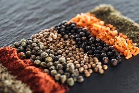 Photo for Close up view of traditional colorful indian spices - Royalty Free Image