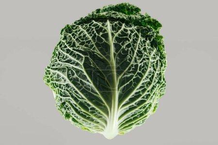 Photo pour Vue du haut du chou entier biologique frais vert isolé sur le gris - image libre de droit