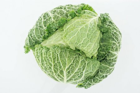Photo for Top view of green textured organic whole cabbage isolated on white - Royalty Free Image