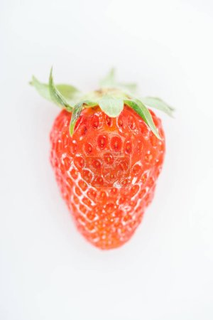 Photo for Top view of fresh whole ripe red strawberry on white background - Royalty Free Image