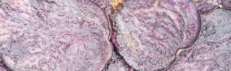 panoramic shot of cut purple radish slices in pile