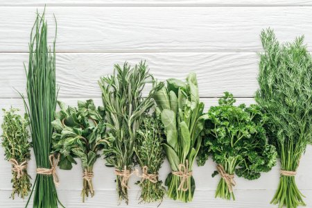 Photo for Top view of various green herbs on white wooden table - Royalty Free Image