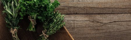 Foto de Panoramic shot of green rosemary, parsley and thyme on chopping board on wooden weathered table with copy space - Imagen libre de derechos