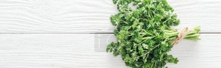 Photo pour Vue supérieure du persil vert sur la table en bois blanche, projectile panoramique - image libre de droit