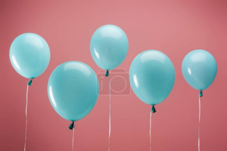 Photo for Festive party decorative balloons on pink background - Royalty Free Image