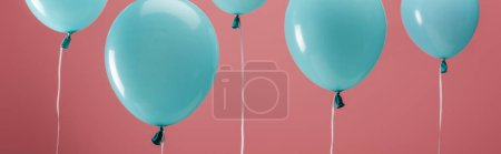 Photo for Festive party decorative balloons on pink background, panoramic shot - Royalty Free Image