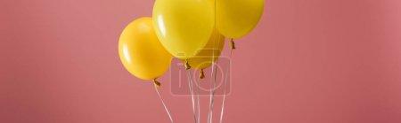Foto de Yellow festive balloons on pink background, party decoration, panoramic shot - Imagen libre de derechos
