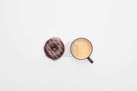 Photo for Top view of tasty glazed chocolate doughnut and cup of coffee on white background - Royalty Free Image