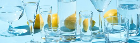 panoramic shot of transparent glasses with water and whole lemons on blue background