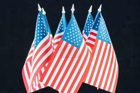 Photo for National american flags isolated on black, Independence Day concept - Royalty Free Image