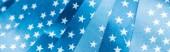 """Постер, картина, фотообои """"close up view of stars on glossy american flags, panoramic shot"""""""
