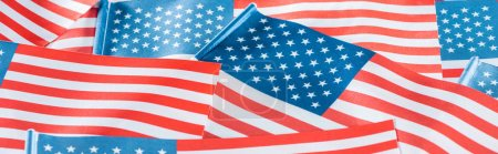 Photo for Close up view of national american flags in pile, panoramic shot - Royalty Free Image
