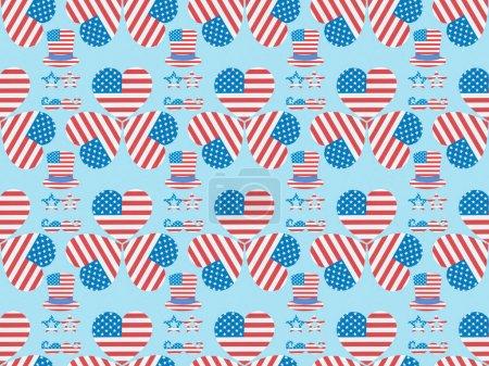 motif de fond sans couture avec moustache, lunettes, chapeaux et coeurs faits de drapeaux américains sur bleu